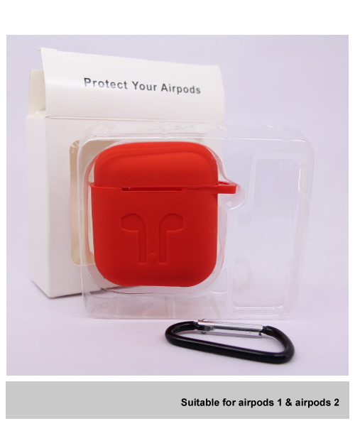Red silicone Airpods case with clip.