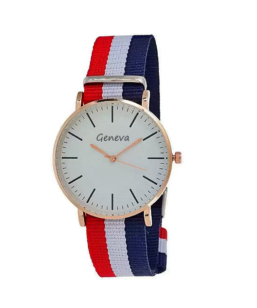 Buy round dial white blue red fabric strap analog watch for girls.