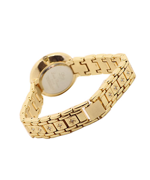 Classy gold and diamond studded wrist watch for girls and women.