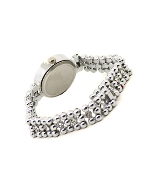 Diamond accented balls strap elegant bracelet quartz watch for women.