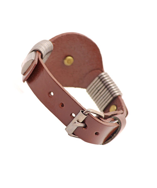 Classic mens boys bracelet floral metal emblem.