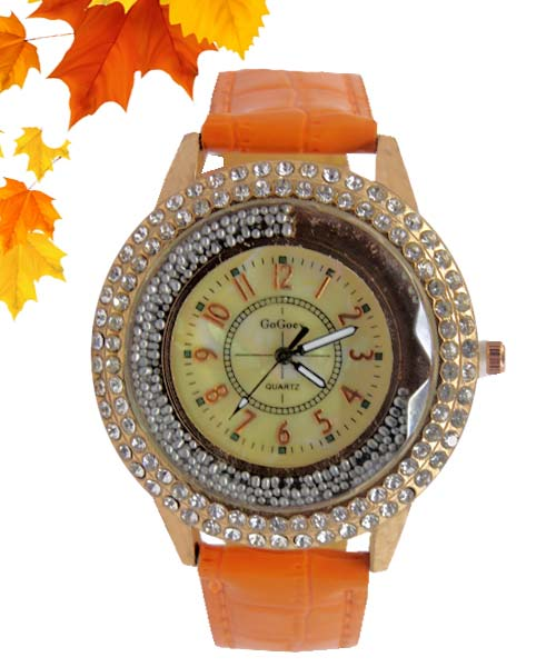 Womens Dancing Diamonds Large Gold Analog Watch.