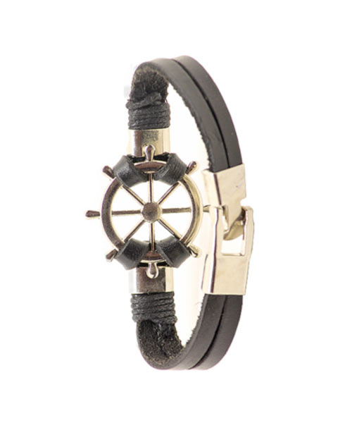 Bold stylish ship wheel charm genuine leather bracelet boys.