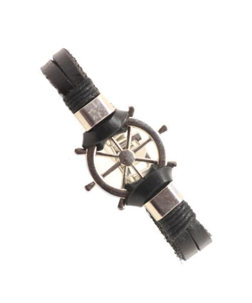 Bold stylish ship wheel charm genuine leather bracelet boys.