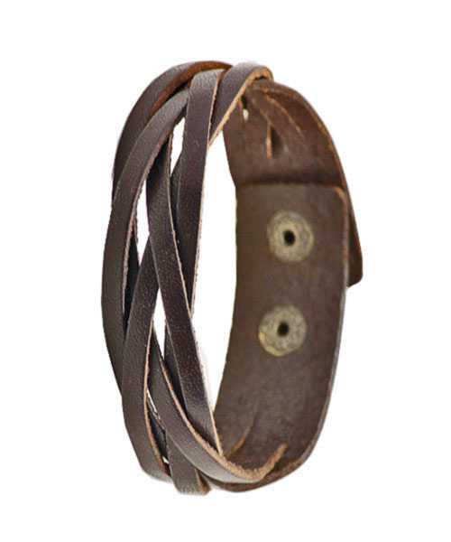 Elegant multi-layered braided leather bracelet for boys.