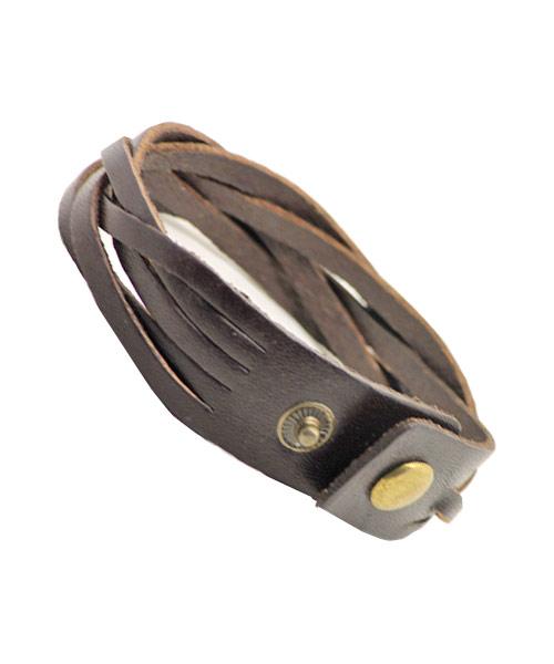 Elegant multi-layered braided leather bracelet for boys.