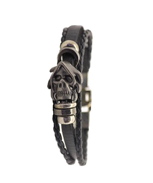 Skulls Multi-strand Black Leather Bracelet for Men Boys.