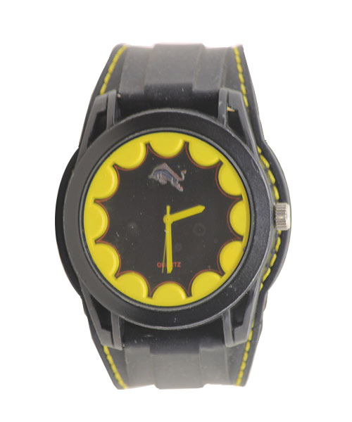 Double Silicon Strap All Black Sports Boys Wrist Watch.