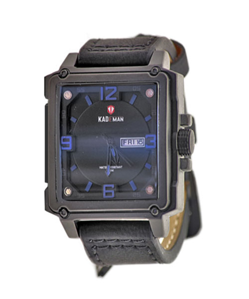 6055-3 Kademan rectangular black alloy watch.