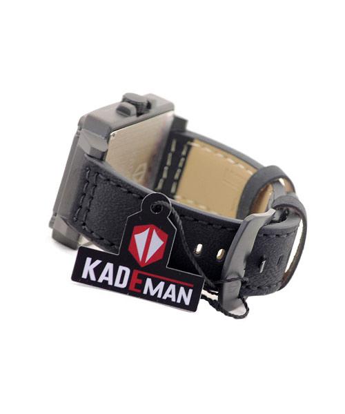 6055-3 Kademan rectangular black alloy watch.