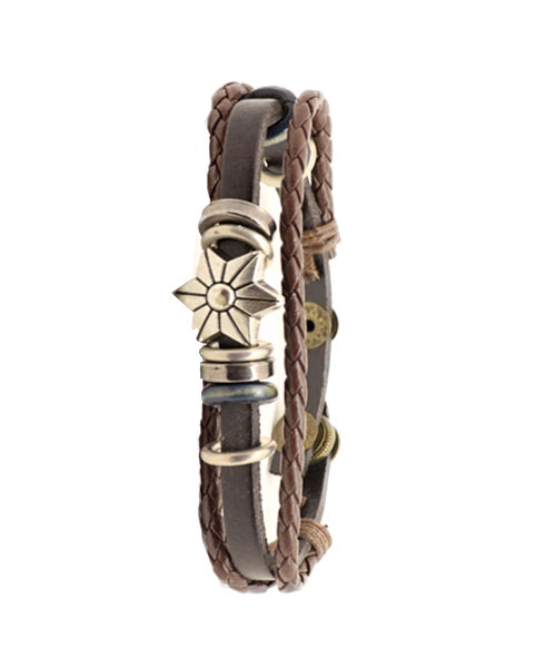 Boys Star Emblem Multi-layer Braided Leather Rope Bracelet.