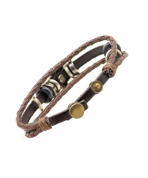 Boys Star Emblem Multi-layer Braided Leather Rope Bracelet.