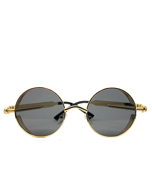 Retro gold polarized round steampunk sunglasses.