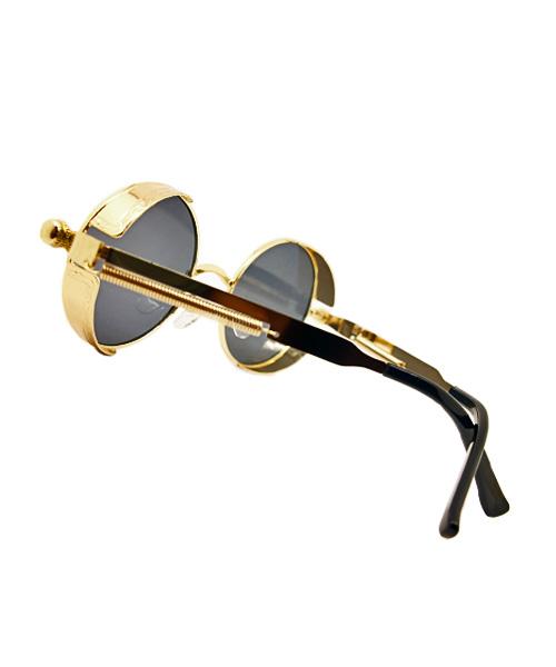 Retro gold polarized round steampunk sunglasses.
