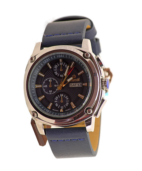 Sveston SV-8149G Round Case Boys Mens Watch PU Dark Blue Strap.