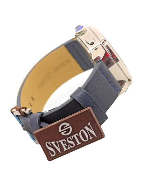 Sveston SV-8149G Round Case Boys Mens Watch PU Dark Blue Strap.