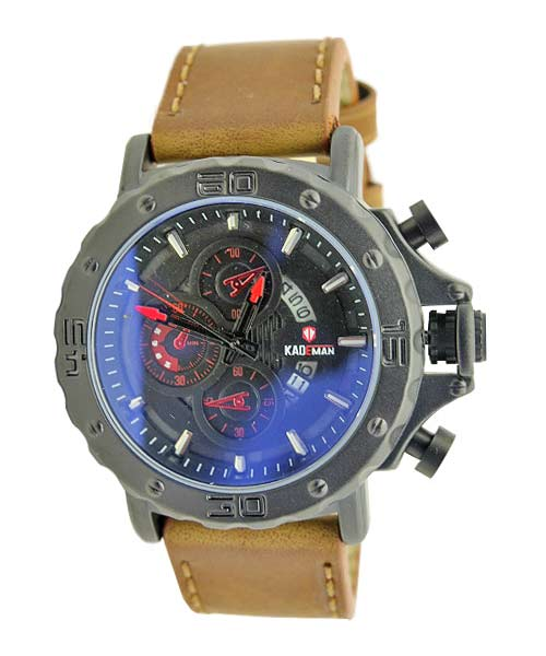 Kademan 6060G mens leather watch date.