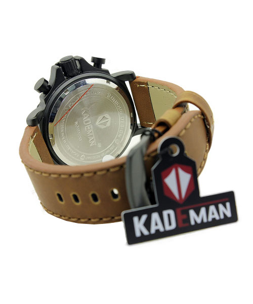 Kademan 6060G mens leather watch date.