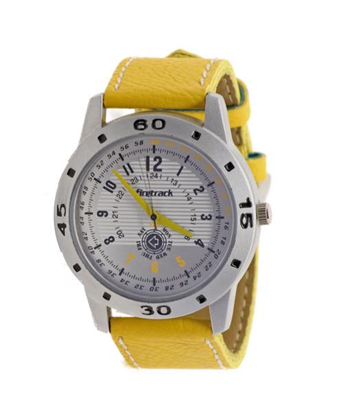 Brushed aluminium yellow strap men's watch.