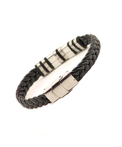 Unisex Twin Sun Braided Leather Bracelet.