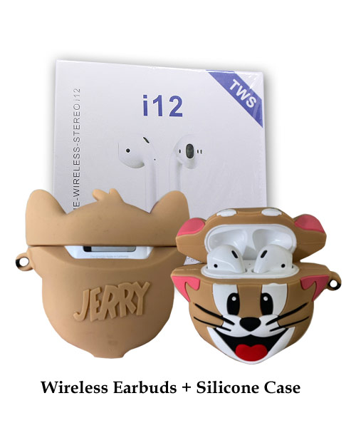 TWS i12 Earbuds White With Jerry Silicone Case.