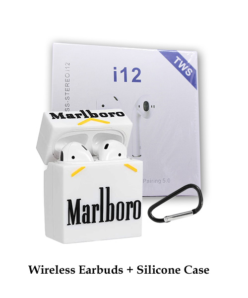 TWS i12 Earbuds White With Silicone Marlboro Case.