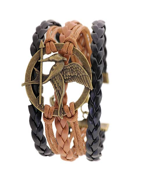 Multi-strand braided leather bracelet.
