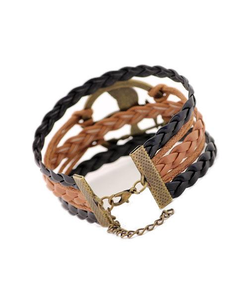 Multi-strand braided leather bracelet.