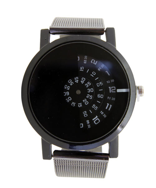 Designer round black mens watch.