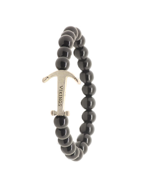 Girls Dark Glass Bead Wrist Band – Bracelet with Silver Vikings Emblem.
