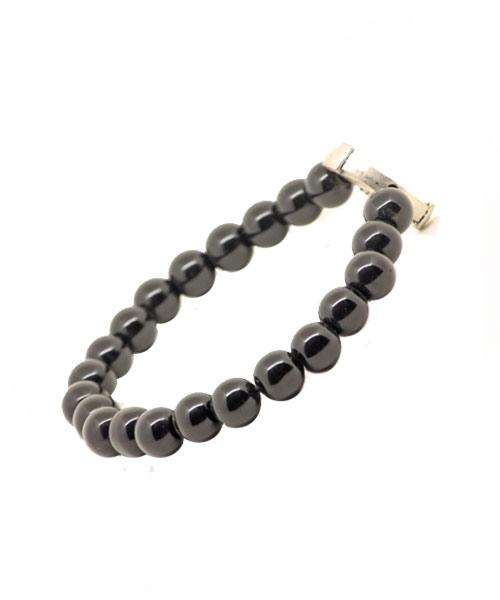 Girls Dark Glass Bead Wrist Band – Bracelet with Silver Vikings Emblem.