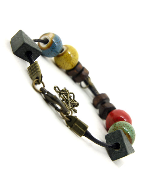 Tropical Bead Charms Girls Leather Bracelet.