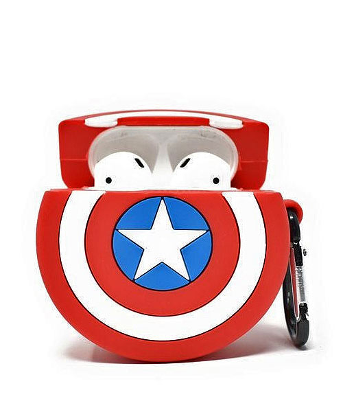 Combo TWS i12 Earbuds White Silicone Captain America Case