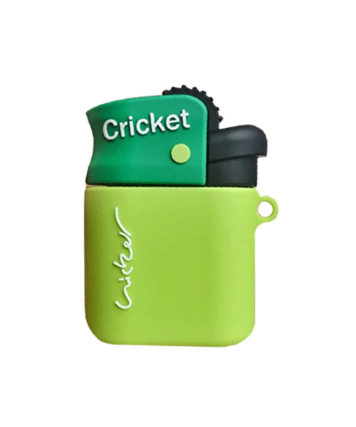 Cricket lighter theme Airpod case with carabiner.