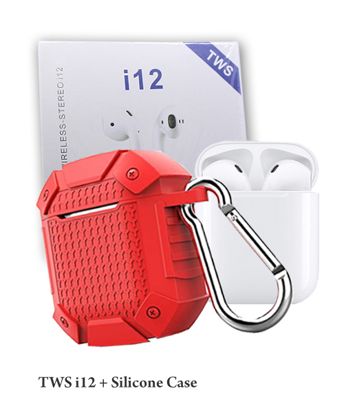 Rugged red silicone case plus TWS i12.