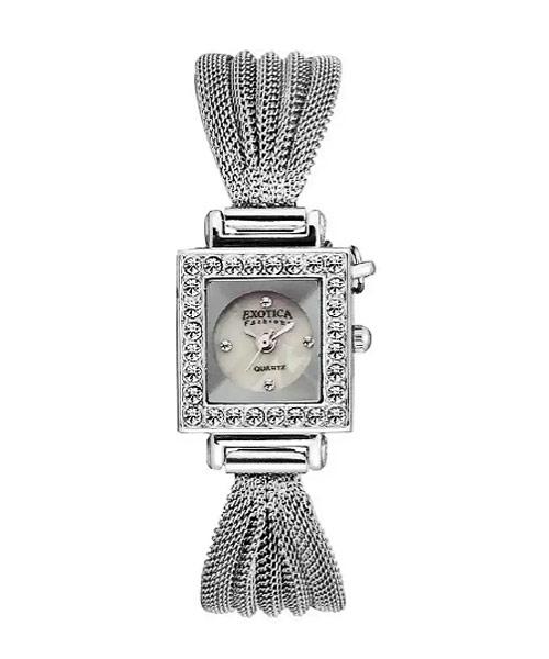 Diamond studded bracelet analog watch square.