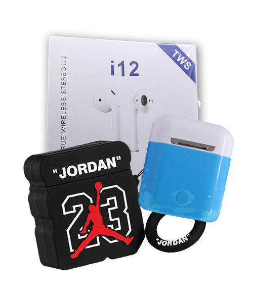 TWS i12 Earbuds White With mJordan Silicone Case.