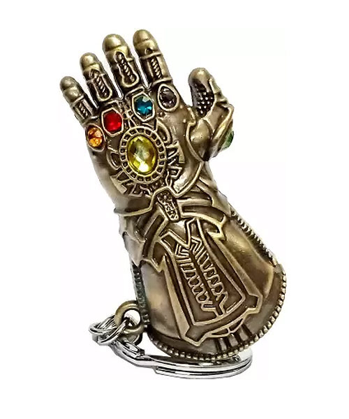 Thanos hand gauntlet superhero Marvel Avengers keychain.