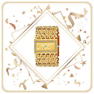 Gold broad bracelet womens watch