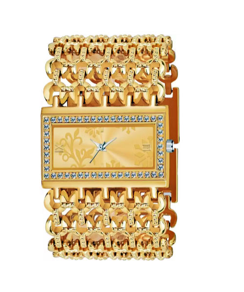 Broad gold bracelet rectangular ladies watch.