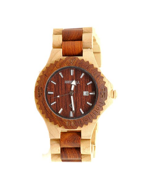 Bewell wooden / wood mens two tone watch.