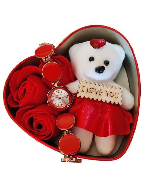 Heart shaped gift set teddy message pill & watch.