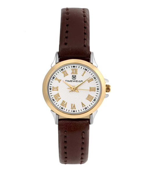 Dual tone brown strap formal watch for girls.