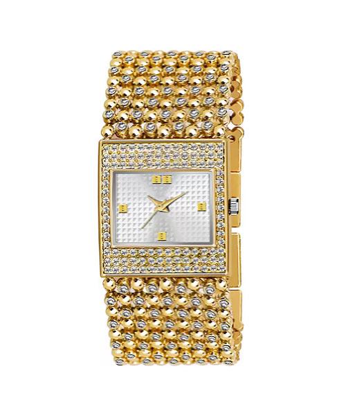 Gold square dial diamond studded bracelet ladies watch.