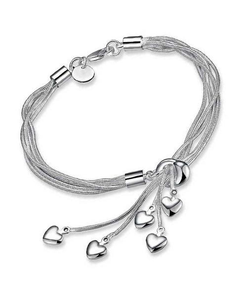 Little hearts rhodium girls ladies bracelet.